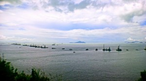 the Hong Kong Zhuhai Macau Bridge construction as seen from the Shum Wat theodolite station