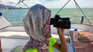 one of our mysterious staff looking for dolphin during a boat survey
