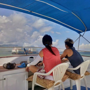 boat survey- the primary observer and the data recorder